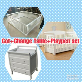 Brand New 2 in 1 Pine wood Playpen and Baby Cot Set from $120