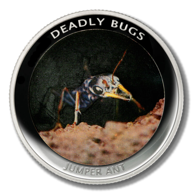Zambia Deadly Insects Jumper Ant 1000 Kwacha 2010  Proof Colored Coin