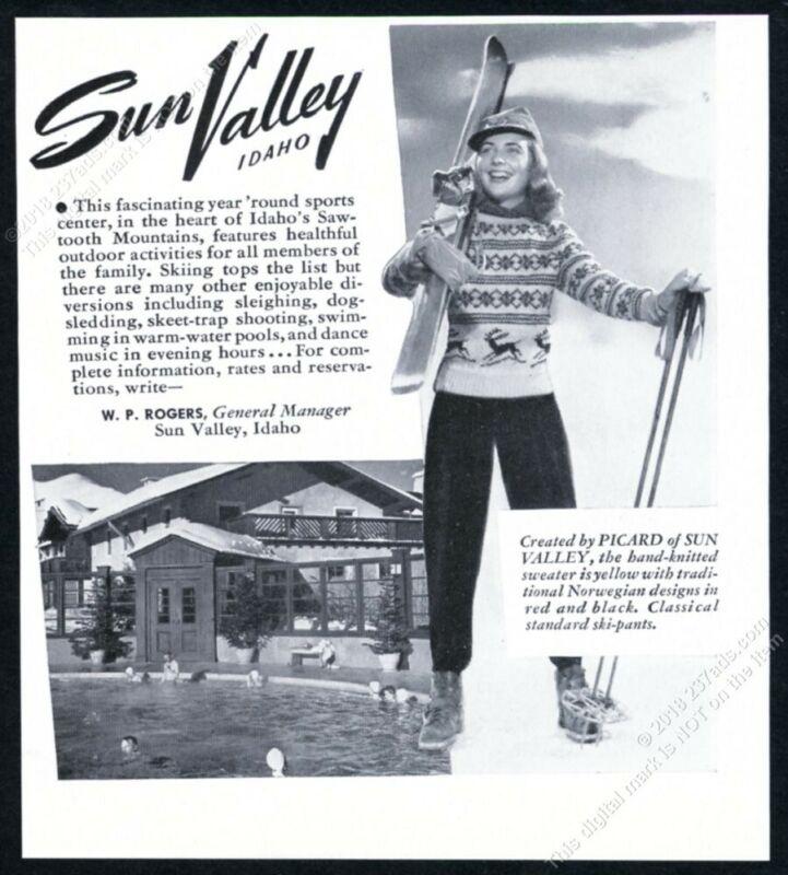 1942 Sun Valley ski area woman skier Picard sweater photo vintage print ad