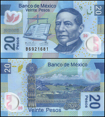 Mexico 20 Pesos Banknote, 2016, P-122, UNC, Series-AA, Polymer, Benito Juarez