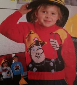 KNITTING PATTERN FIREMAN SAM JUMPERS SWEATERS IN DOUBLE CREPE 22 - 28