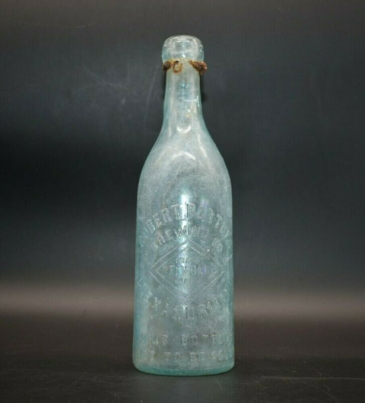 "Robert Portner Alexandria VA Virginia Aqua 9 1/4"" Blob Beer Bottle"