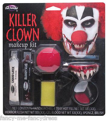 Mens Dead Killer Clown Halloween Special Effects Make Up Fancy Dress Costume Kit