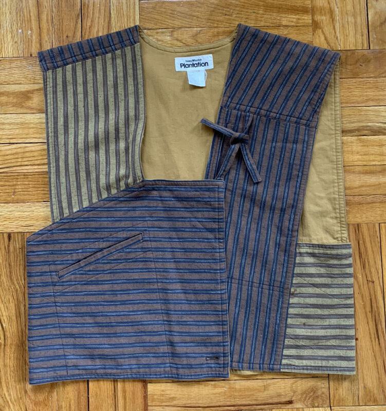 VTG Issey Miyake Plantation Striped Cotton Asymmetrical Tie Front Vest Sz Small