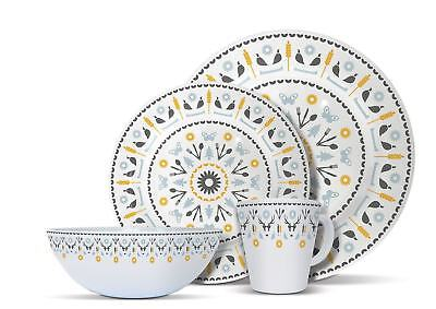 32-Piece Melamine Dinner Set Plates Mugs Picnic Outdoor Camping BBQ Dining for 8 ()