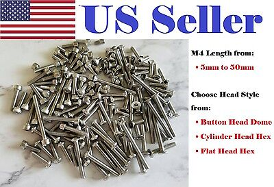 M4 5-50 Mm Hex Bolt Button Socket Cylinder Flat Head Stainless Steel Screw