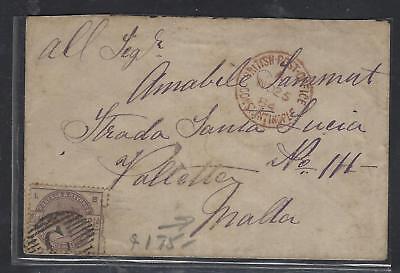 BRITISH LEVANT OFFICES IN TURKEY (P1410B)  1884 GB 2 1/2D QV TO MALTA