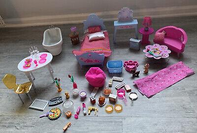 Mattel Barbie 2006 Dreamhouse Furniture Lot Vhtf Lamp Works Bed Vanity Laundry
