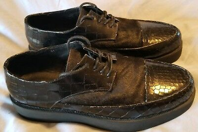 F Troupe Oxford Shoes Black Leather Pony Hair Platform Shoes Sz 41 US Sz 9.5 for sale  Greensboro