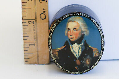 Hand Painted Russian Enamel Lacquer Box with Admiral Lord Horatio Nelson