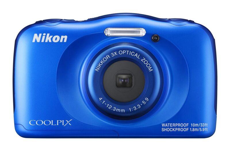 Nikon COOLPIX W100 13.2-Megapixel Waterproof Digital Camera Blue 26516