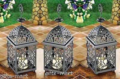 "5 black 13"" Moroccan Marrakech Lantern Candle holder wedding table centerpiece"