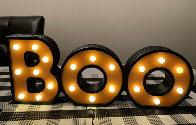 Target Hyde And Eek Boutique Boo Wood Bulb Light Indoor Decor 2021 New!