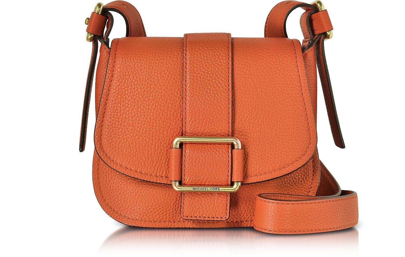 NWT MICHAEL KORS MAXINE Medium Leather SADDLE BAG Orange - $