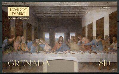 Grenada Art Stamps 2019 MNH Leonardo Da Vinci 500th Mem Last Supper 1v IMPF S/S