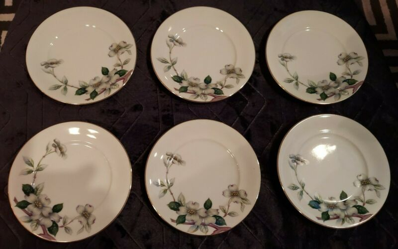 Meito Norleans Livonia Dogwood Bread & Butter Plates. Lot of 6. Occupied Japan