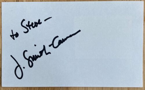 J. Smith-Cameron Signed / Inscribed 3X5 Index Card TV Series Succession  Rectify