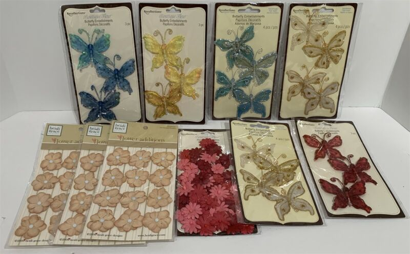 Recollections BUTTERFLIES Butterfly Fabric Paper Flowers Embellishments Lot