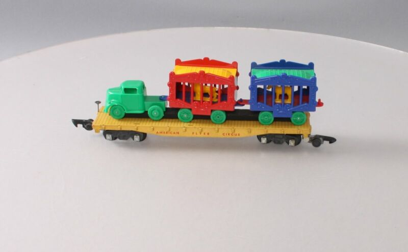 American Flyer 643 Vintage S Circus Flat Car w/ Cages & Truck Tractor