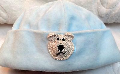 Nwot Tcp Velour Hat Cap Beanie  W Bear 6 9 12 Months Baby Infant Boys Light Blue