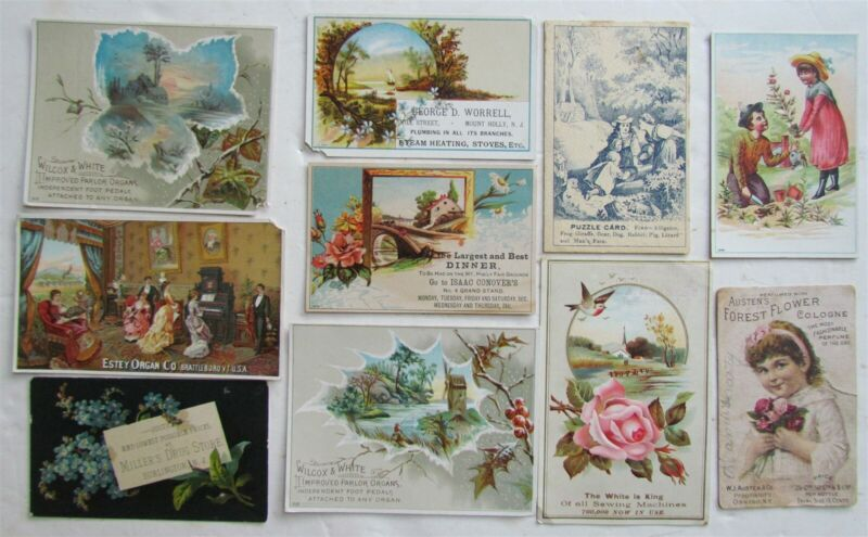 LOT of 10 VICTORIAN ADVERTISING TRADE CARDS FROM NEW JERSEY
