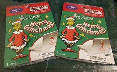 2 Hallmark Dr Seuss Merry Grinchmas Moveable Decorations Sticker NEW Christmas (Dr Seuss Christmas Decorations)