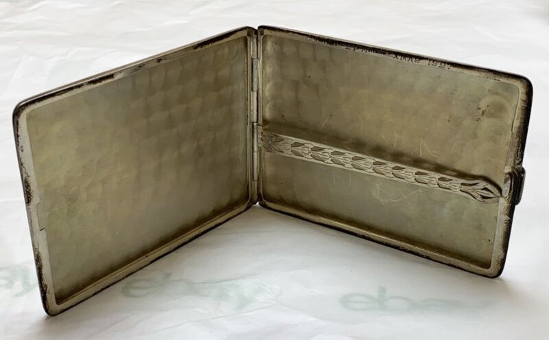 Antique Engraved 1920s Napier Sterling Silver Cigarette Case Xmas 27 94g Maillet