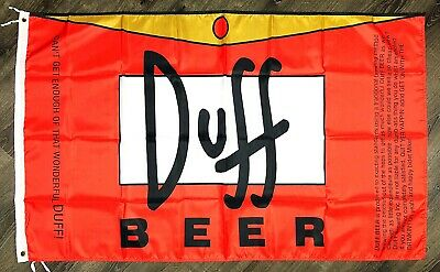 Duff Beer The Simpsons Flag 3x5 ft Banner Homer Bart Moe's Tavern Man-Cave Bar - Tavern Man