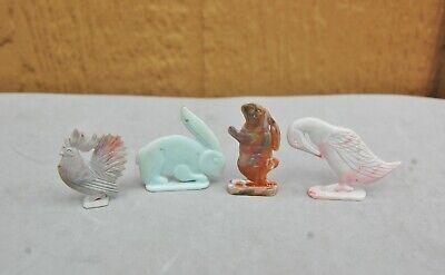Cracker Jack Charm Vintage Plastic Lot 4 Easter Rabbit Blue Bunny Goose Rooster
