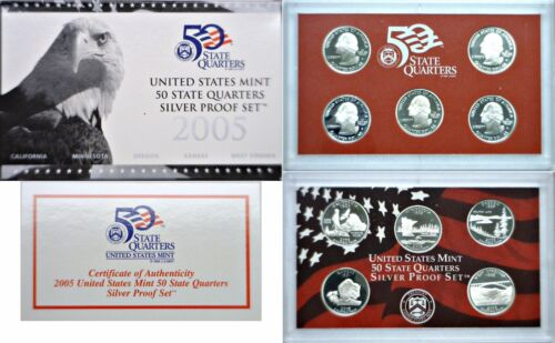 2005-s 5 Coin Silver Proof Quarter Set Ogp W/coa