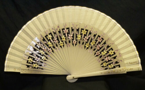 Vtg Bamboo Wood Folding Hand Fan Artist Signed Hand Painted Floral Lacquer