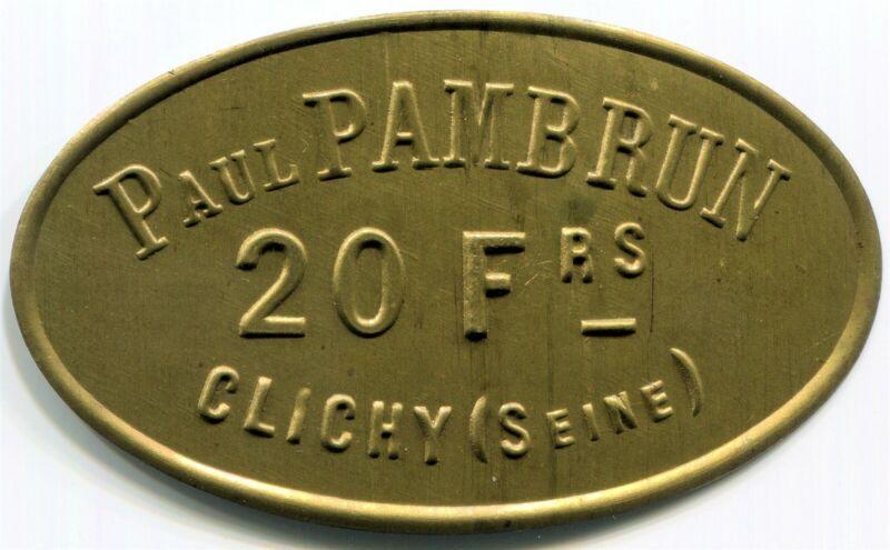 France,  Clichy - Paul Pambrun  20Fr  Token