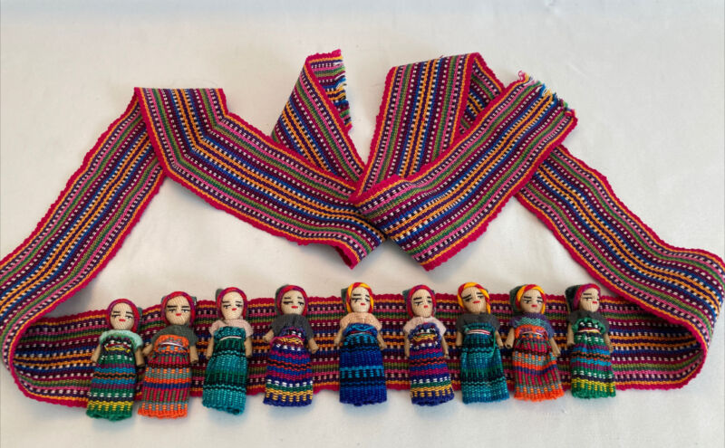"""Guatemalan Belt With 9 Worry Dolls, 60"""" Long, Colorful Fabric"""