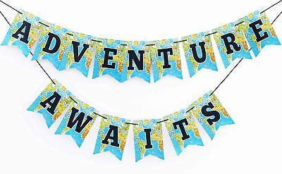 Boston Creative company Adventure Awaits Banner,Bon Voyage Banner, Travel Theme - Travel Themed Party Decorations
