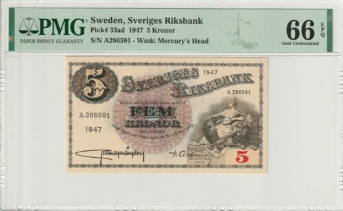 PMG Certified Banknote UNC Sweden 1947 5 Kronor 66 EPQ Gem Pick 33ad