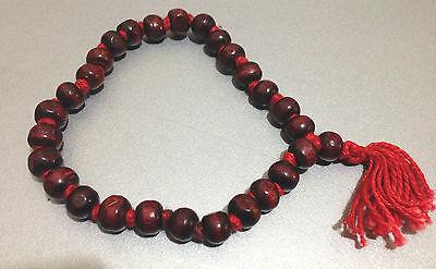 MALA COUNTER 27+1 ROSE RED WOOD BEADS HINDU BUDDHIST JUZU SUBHA ROASARY YOGA AUM