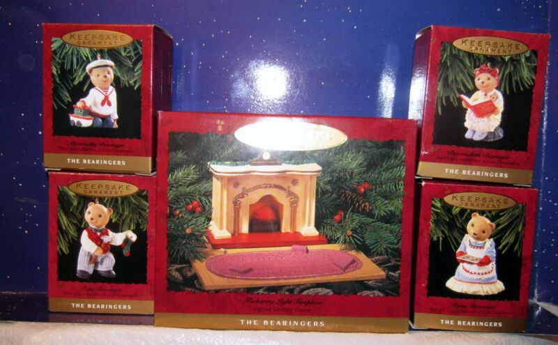 Hallmark The Bearingers Ornaments  Flickering Fireplace Lot of Five