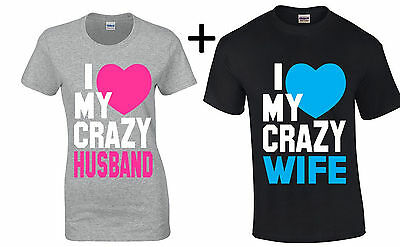 I Love My Crazy Husband Wife Couple T Shirt Valentines Day Gift For Her Him Tee
