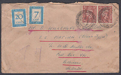 1950 Postage Due Cover, KGVI, Garston Liverpool to Rotterdam. Netherlands; Tatty