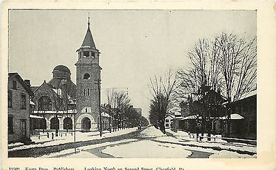 C1906 Printed Postcard  Looking North On Second Street  Clearfield Pa Unposted