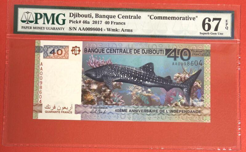 Djibouti 40 Francs 2017 PICK# 46a PMG: 67 EPQ GEM UNC.(#2044)