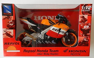 Nicky Hayden 1/12 Repsol Honda RC211V Die Cast Motorcycle MotoGP New Ray
