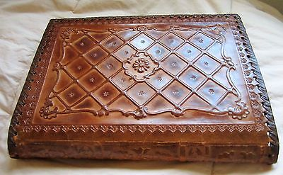 Rare VTG Hand Tooled Brown Embossed Leather Bible, Agenda, Book Cover Jacket