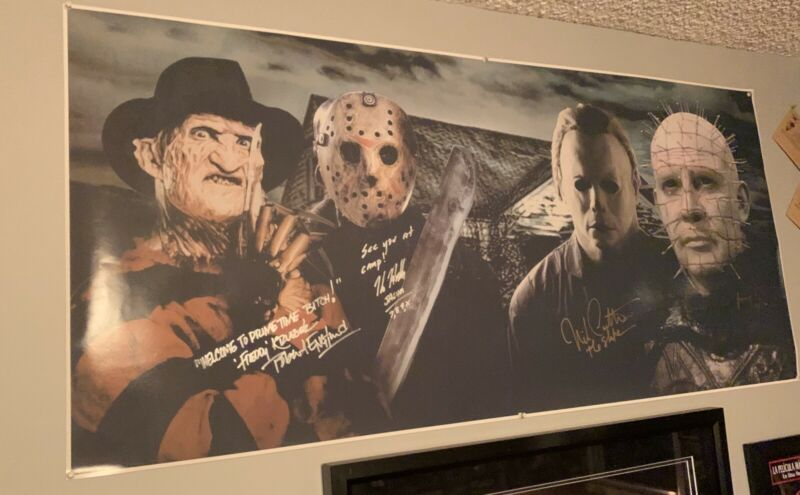 Signed Robert Englund Kane Hodder Nick Castle Douglas Bradley Huge Horror Poster
