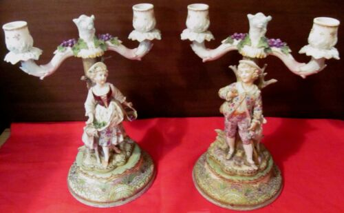 PAIR-DRESDEN FIGURAL ANTIQUE PORCELAIN CANDELABRA - COURTING COUPLE WITH LAMBS