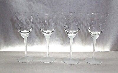 CRYSTAL CLEAR INDUSTRIES VALERIE FROSTED .. SET OF 4 OPTIC CRYSTAL WINE GOBLETS