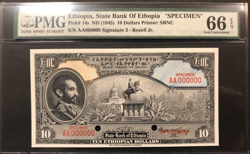 Ethiopia Banknote Specimen P 14s. EPQ. Grade 66
