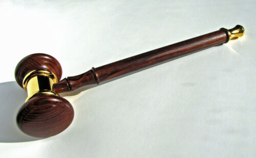 Gavel Made From Cocobolo Rosewood & Gold Plated Solid Brass