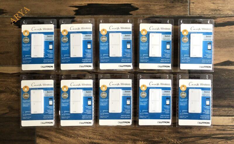 (10 PCS) Lutron Caseta Wireless In-Wall Light/Fan Switch –PD-5ANS-WH-R White
