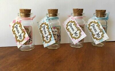 Alice in Wonderland 8 mini bottle party favors drink me table decoration](Wonderland Parties)